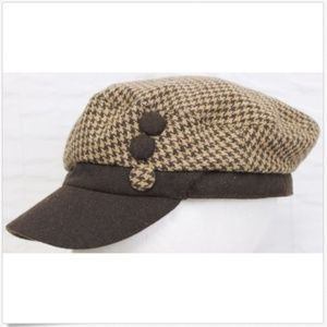 Brown Wool Houndstooth Newsboy Cap One Size Adult